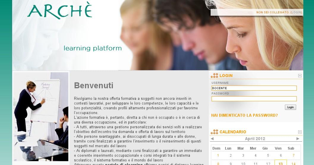 elearning platform per l'ente di formazione  Archè
