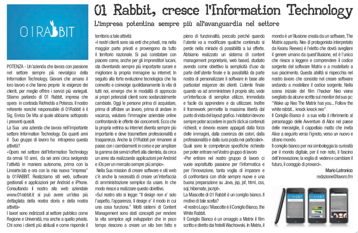 Intervista a Enrico De Vita su Lavoro.fm