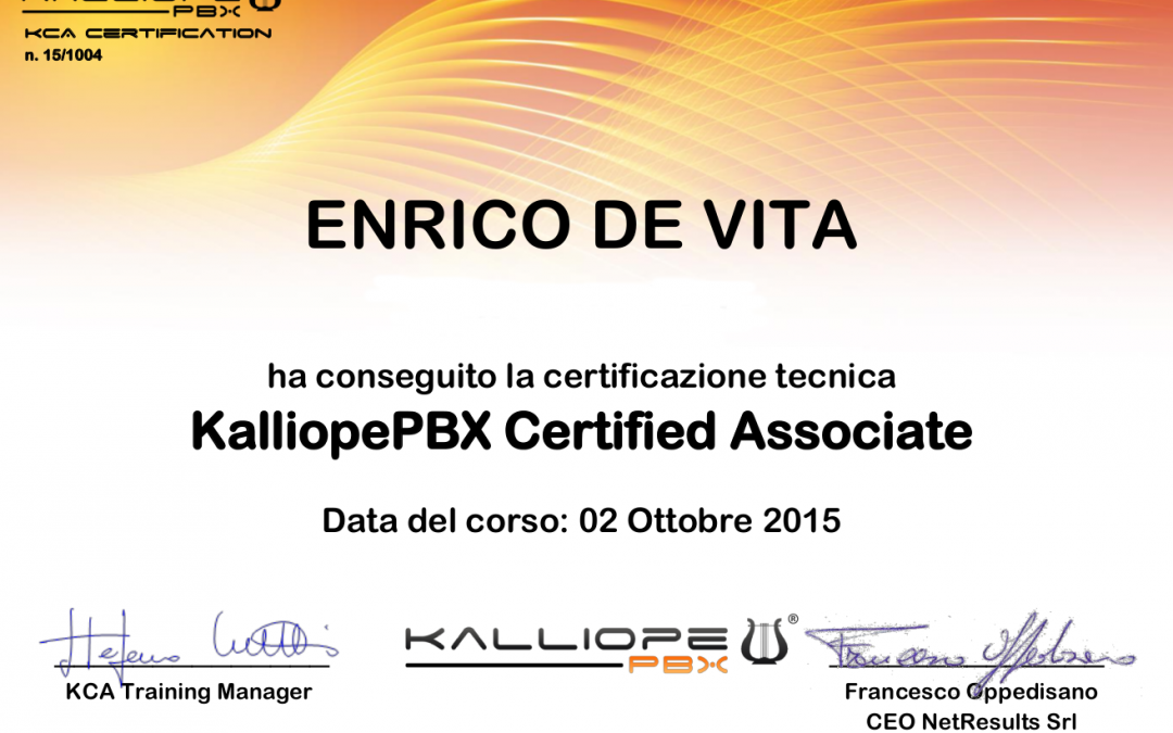 Certificazione  centralini VoIP KalliopePBX
