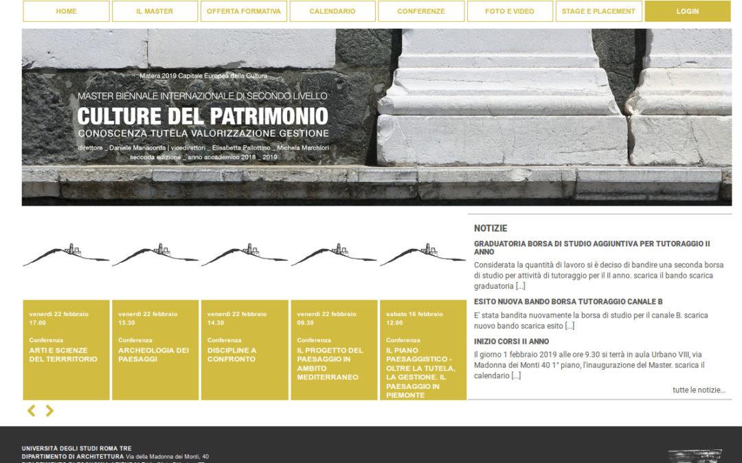 Master Culture del Patrimonio Università Roma Tre